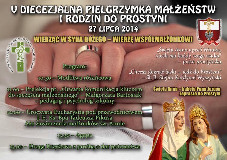 V Diecezjalna Pielgrzymka Małżeństw i Rodzin do Prostyni